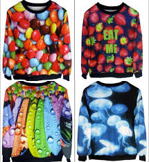 new fashion women men candy strawberries octopus print pullover