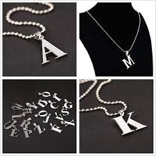 silver letter necklace pendants images Fashion h z letter necklaces pendants alphabet silver color jpg