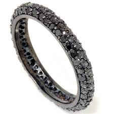 black band engagement rings black diamond pave eternity ring 1 10ct womens black gold