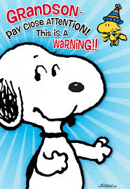 peanuts snoopy hug attack birthday card for grandson greeting