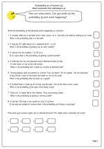 year 6 maths worksheet probability as a fraction maths blog