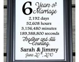 sixth wedding anniversary gift 6 years of marriage etsy