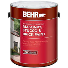 Home Depot Interior Paint Brands Behr 1 Gal White Flat Masonry Stucco And Brick Paint 27001 The