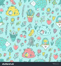 seamless pattern cute cartoon hand drawn stock vector 287740529