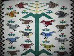 tree of pictorial weaving navajo rug with birds by