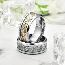 titanium jewelry rings images Wholesale titanium steel 316l jewelry luminous gold inlay dragon jpg
