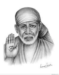 beautiful lord sai nath sketch god pictures