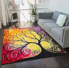 Modern Abstract Area Rugs Fairytale Multi Yellow Orange Red Nature Modern Abstract Painting