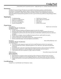 It Resume Objectives Computer Technician Computer Technician Sample Resume Job Resume
