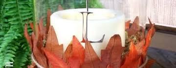 pottery barn inspired fall leaf hurricane centerpiece