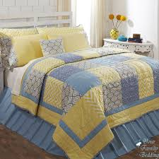best blue yellow patchwork queen comforter sets with yellow