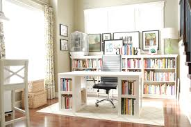office decor selection with white wooden desk and base book case