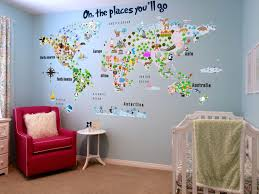 Fabric Wall Decals For Nursery Animal Map Cultural World Map Wall Decal Reusable Vinyl Fabric
