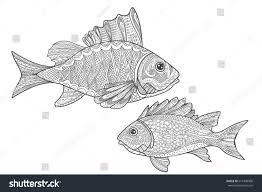 sealife coloring page fishes coloring stock vector 675490906