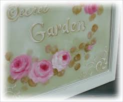 victorian hand painted window with pink roses