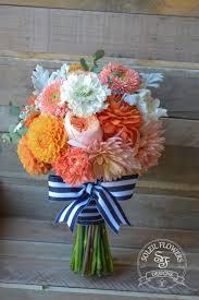 navy blue and white striped ribbon gerando daisies orange and bouquet w navy and white striped