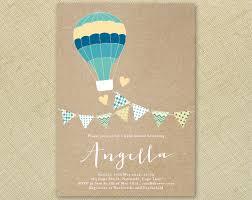 boy air balloon and bunting baby shower invitation printable