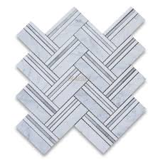carrara white 1x4 herringbone mosaic tile w thassos lines
