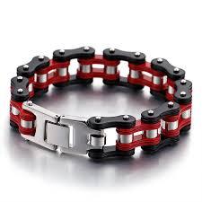 red chain bracelet images Fashion men bike chain bracelet red black titanium steel jpg