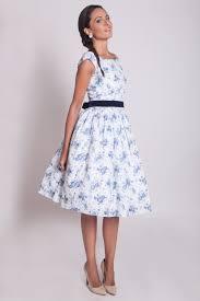 1950s floral prom dress 50s bridesmaid dress blue floral
