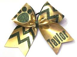 personalized bows paw print chevron personalized monogrammed cheer bow