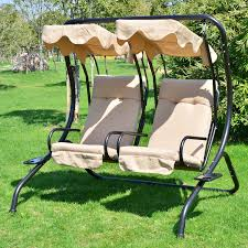 Swing Chair Patio Porch Seating 2 Seat Patio Swing Wood Porch Swings Hanging Fabric