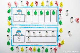 snowman winter ten frame printable with
