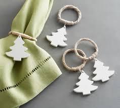 white tree napkin ring set of 4 pottery barn