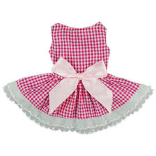 plaid ribbon fitwarm casual pink plaid ribbon pet clothes dog dress