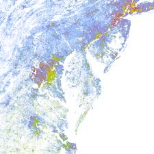 us map atlanta to new york the racial dot map one dot per person for the entire u s