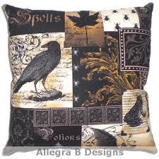 gothic raven pillow victorian steampunk home decor on etsy 15 00