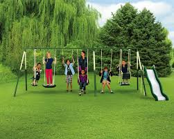 sportspower adventure play ii 9 play metal backyard swing set with