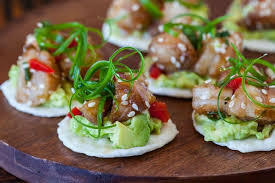 what does canape wasabi shrimp with avocado on rice cracker steamy kitchen recipes