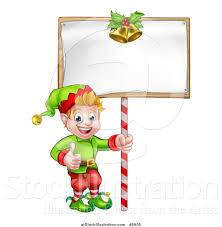 vector illustration of a cartoon happy male christmas elf giving a