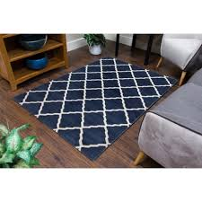 lattice blue rug