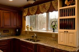 nice looking brown fabric homemade over valances kitchen window