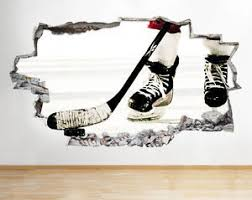 sport en chambre x c001 hockey sport bedroom cool smashed wall decal 3d