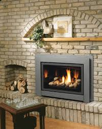 living room amazing gas fireplace inserts with faux brick wall