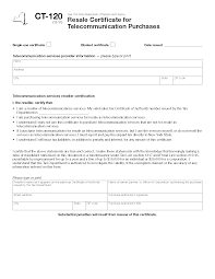 form ct 120 resale certificate for telecommunication purchases