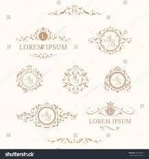 elegant floral monograms borders design templates stock