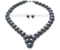 jewelry black pearl necklace images White bridal pearl matching set with 925 sterling silver jpg