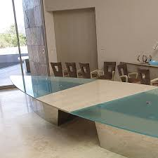 Contemporary Conference Table Glass Conference Table Home Office Contemporary With Black Leatehr