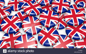 with union jack backdrop stock photos with union jack backdrop united kingdom background with union jack flag on badges 3d illustration for uk national day events