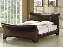 living wave super king size brown faux leather bed frame