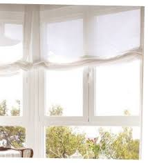 white sheer linen relaxed flat faux roman shade valances