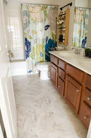 How To Lay Vinyl Flooring In Bathroom Bathroom Transformation With Vinyl Tile The Home Depot
