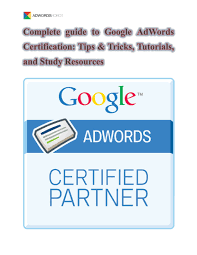 calaméo complete guide to google ad words certification tips