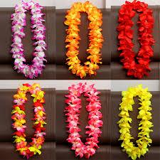 flower leis 6pcs set hawaiian flower leis garland necklace fancy dress party