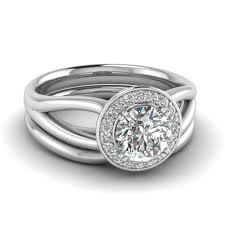 white gold wedding sets cut diamond glossy split halo wedding set in 14k white gold