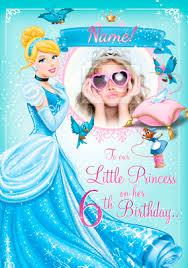 cinderella photo birthday card disney princess funky pigeon